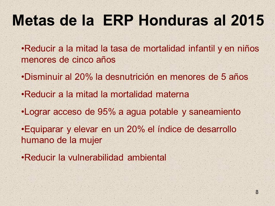 Metas de la ERP Honduras al 2015