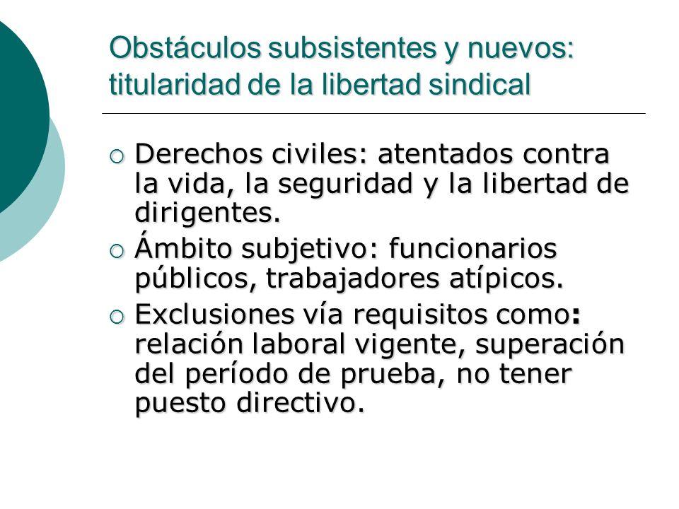 Obstáculos subsistentes y nuevos: titularidad de la libertad sindical
