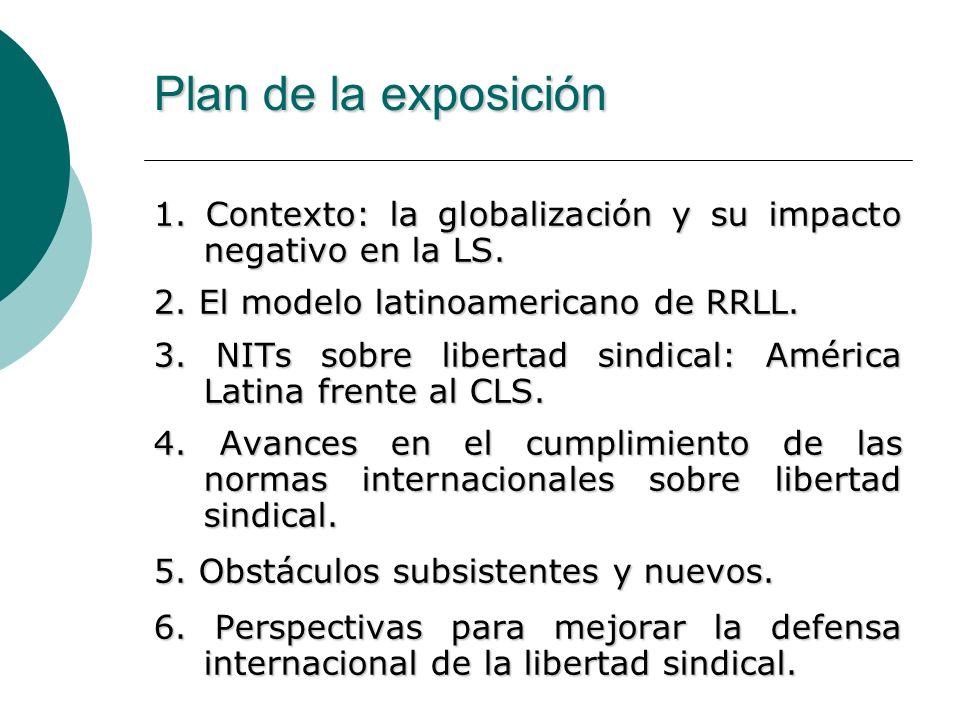 Plan de la exposición1. Contexto: la globalización y su impacto negativo en la LS. 2. El modelo latinoamericano de RRLL.