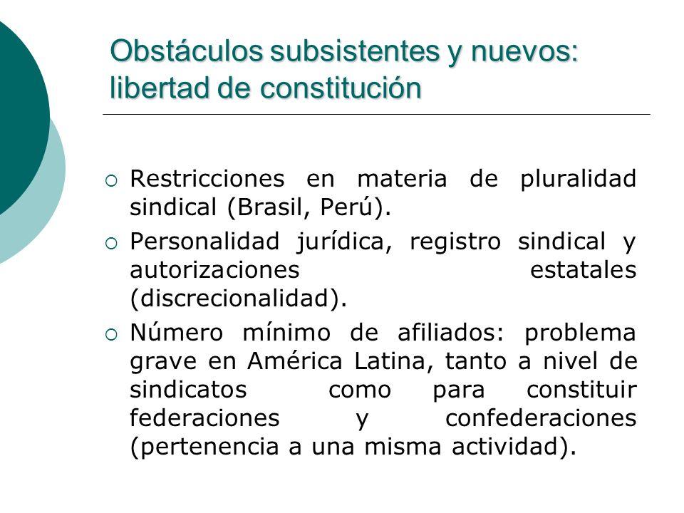 Obstáculos subsistentes y nuevos: libertad de constitución