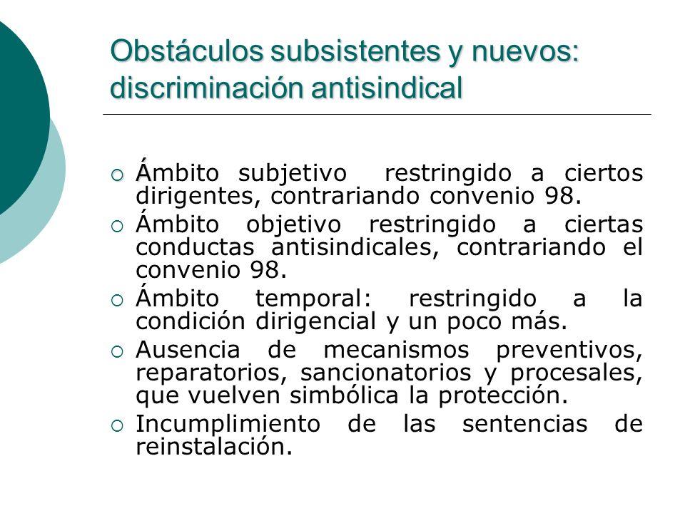 Obstáculos subsistentes y nuevos: discriminación antisindical