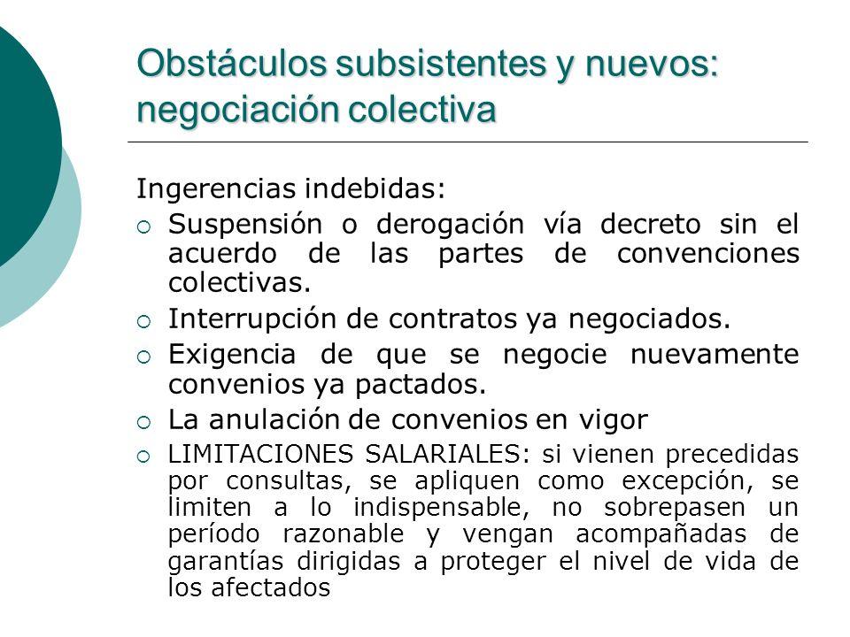 Obstáculos subsistentes y nuevos: negociación colectiva