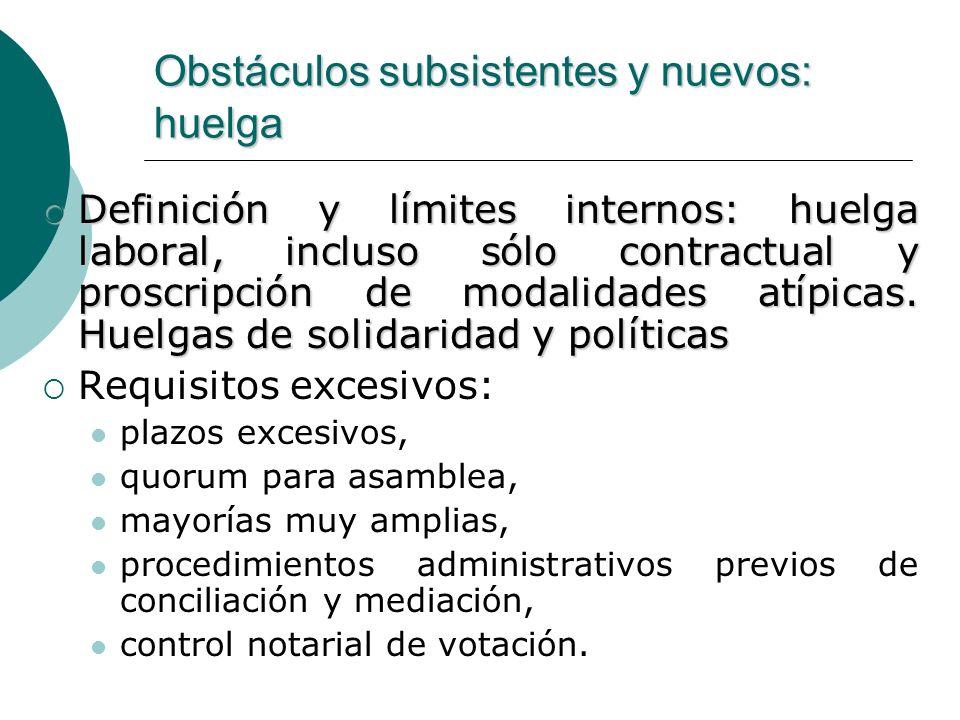 Obstáculos subsistentes y nuevos: huelga