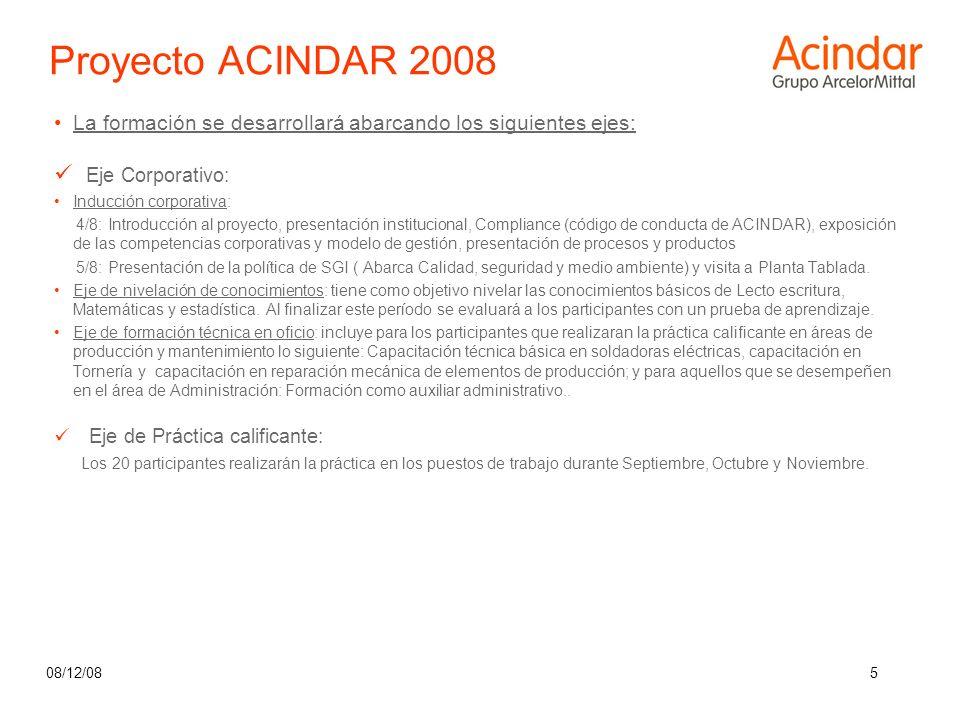 Proyecto ACINDAR 2008 Eje Corporativo: