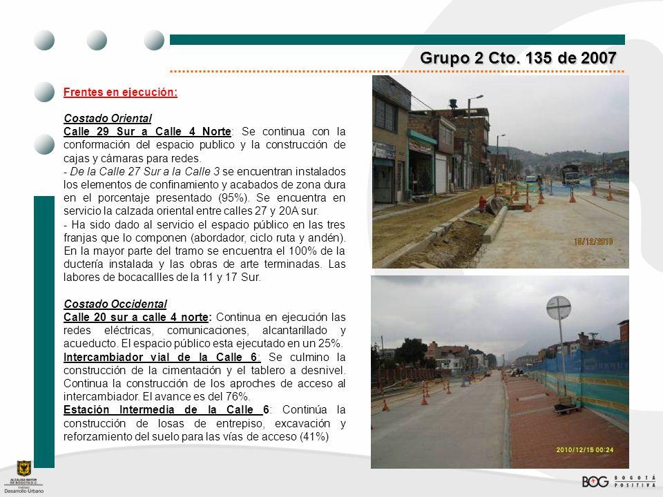 Grupo 2 Cto. 135 de 2007 Frentes en ejecución: Costado Oriental