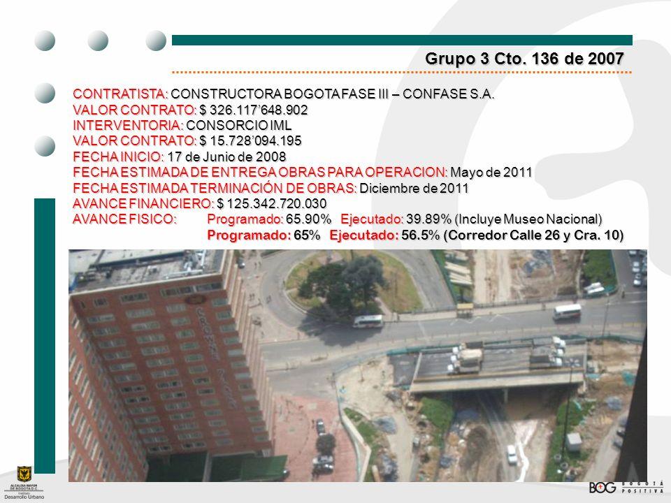 Grupo 3 Cto. 136 de 2007CONTRATISTA: CONSTRUCTORA BOGOTA FASE III – CONFASE S.A. VALOR CONTRATO: $ 326.117'648.902.