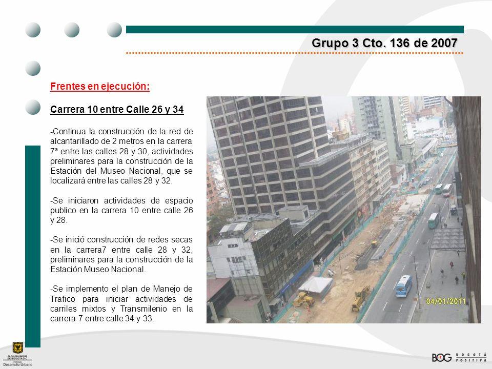 Grupo 3 Cto. 136 de 2007 Frentes en ejecución: