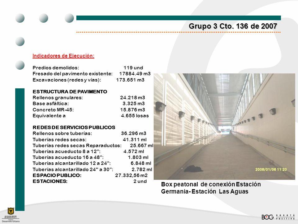 Grupo 3 Cto. 136 de 2007Indicadores de Ejecución: Predios demolidos: 119 und.