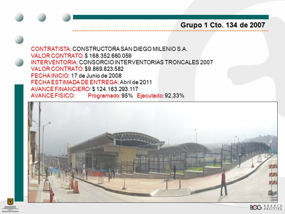 Grupo 1 Cto. 134 de 2007 CONTRATISTA: CONSTRUCTORA SAN DIEGO MILENIO S.A. VALOR CONTRATO: $ 168.352.660.059.