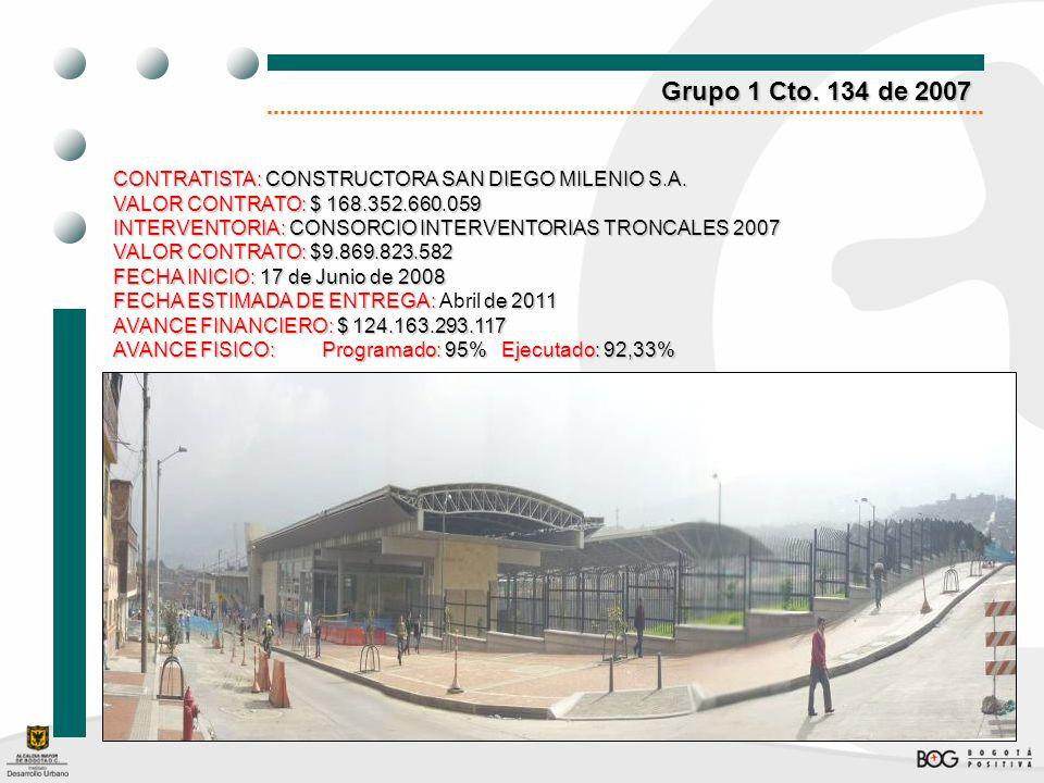 Grupo 1 Cto. 134 de 2007CONTRATISTA: CONSTRUCTORA SAN DIEGO MILENIO S.A. VALOR CONTRATO: $ 168.352.660.059.