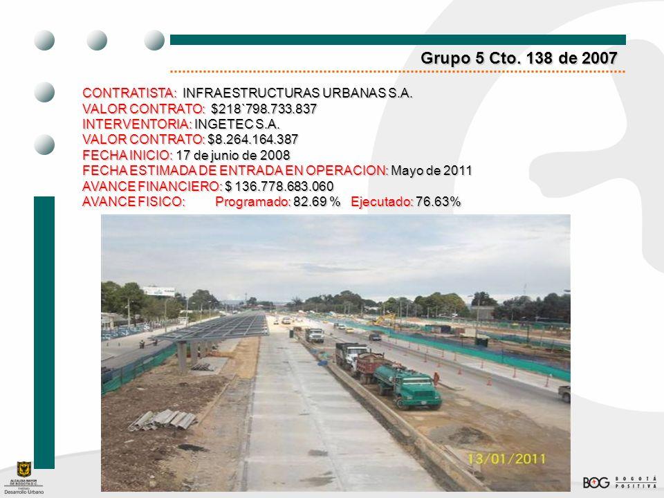 Grupo 5 Cto. 138 de 2007 CONTRATISTA: INFRAESTRUCTURAS URBANAS S.A.