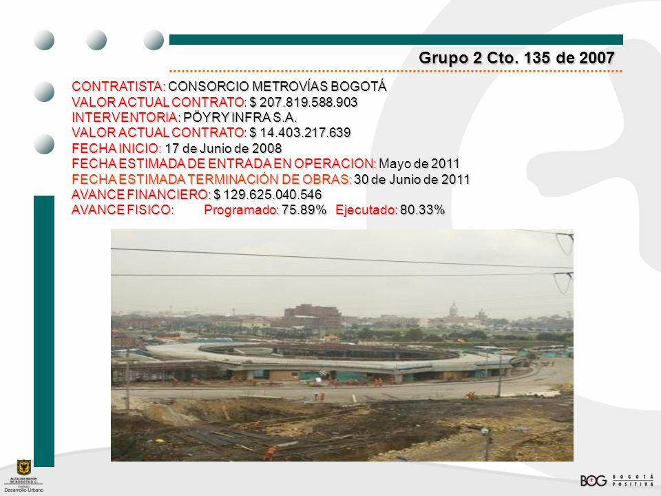 Grupo 2 Cto. 135 de 2007 CONTRATISTA: CONSORCIO METROVÍAS BOGOTÁ