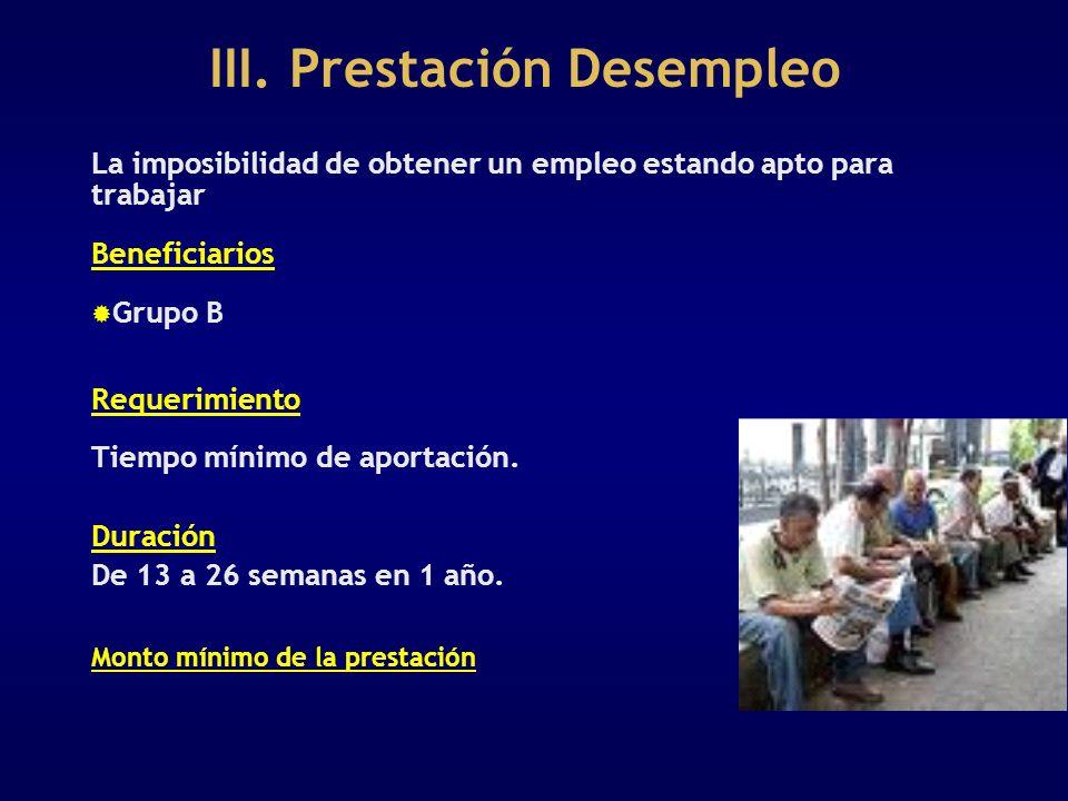 III. Prestación Desempleo