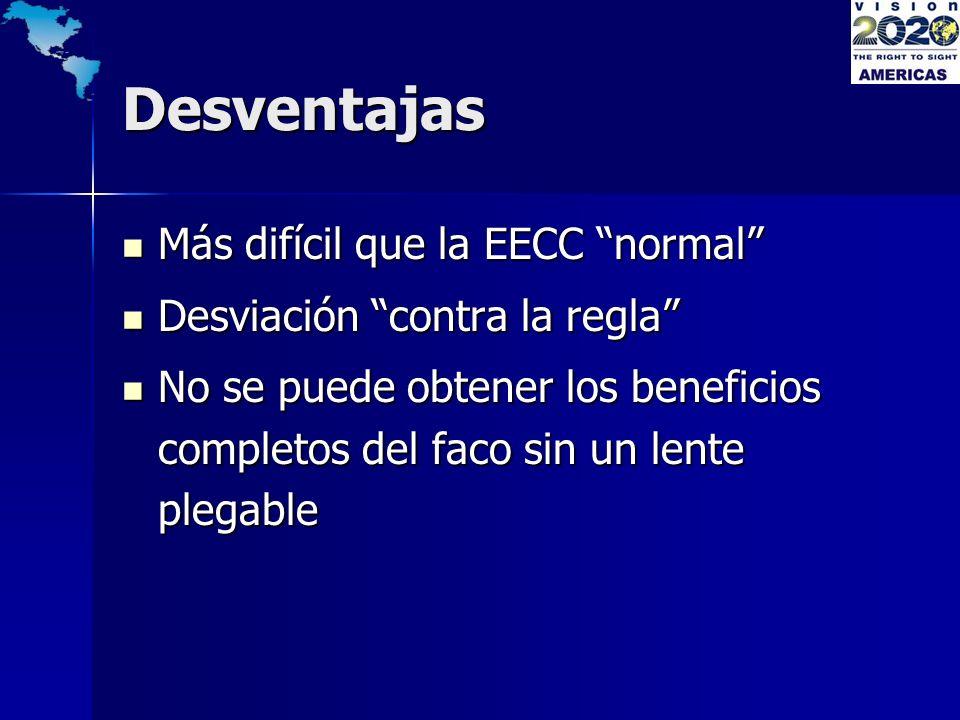Desventajas Más difícil que la EECC normal