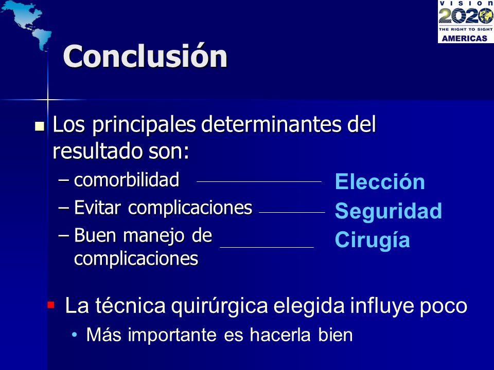 Conclusión Los principales determinantes del resultado son: Elección