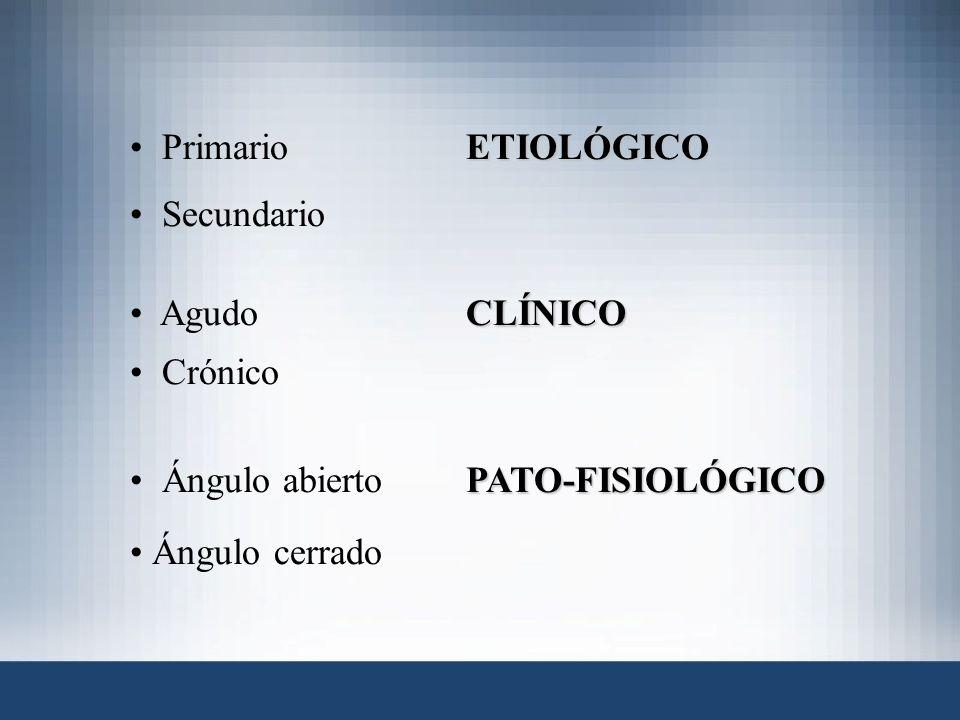 Primario ETIOLÓGICO Secundario. Agudo CLÍNICO.