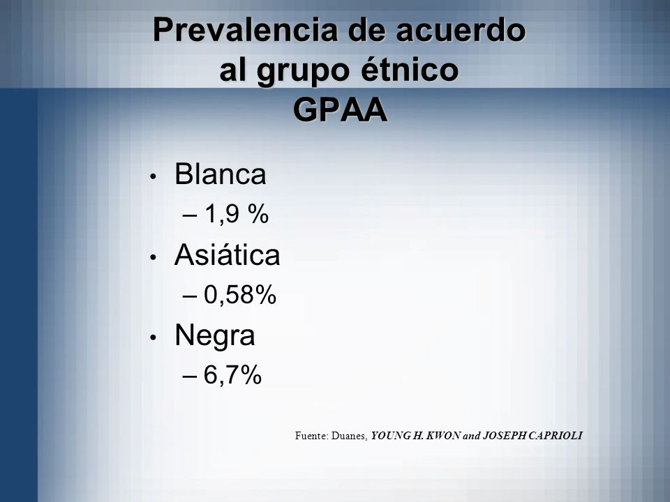 Prevalencia de acuerdo al grupo étnico GPAA