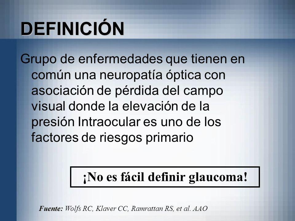 ¡No es fácil definir glaucoma!