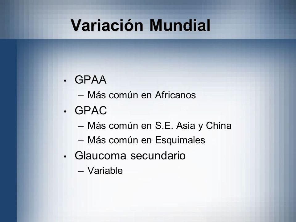 Variación Mundial GPAA GPAC Glaucoma secundario Más común en Africanos