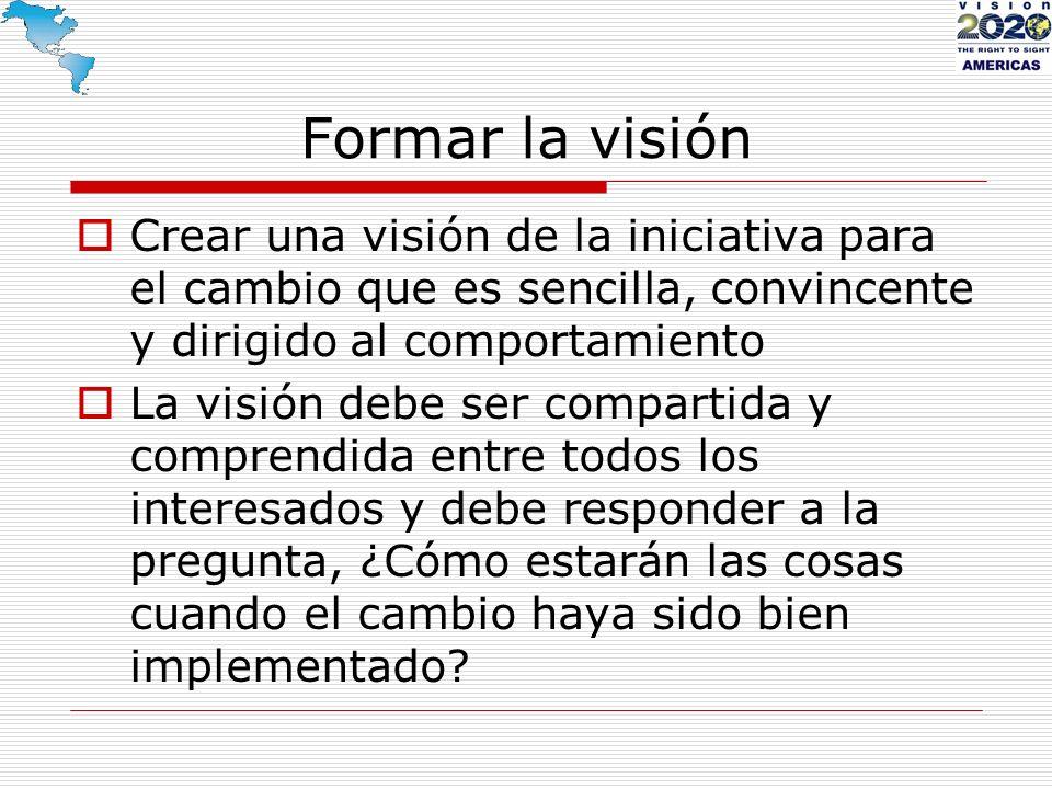 Formar la visión Crear una visión de la iniciativa para el cambio que es sencilla, convincente y dirigido al comportamiento.