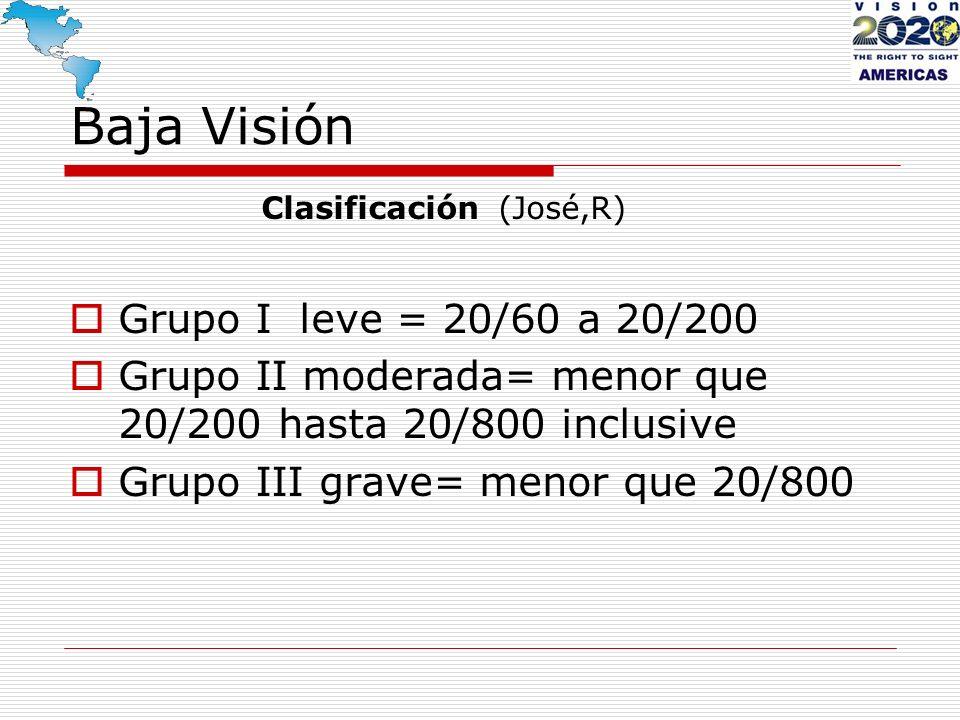 Baja Visión Grupo I leve = 20/60 a 20/200