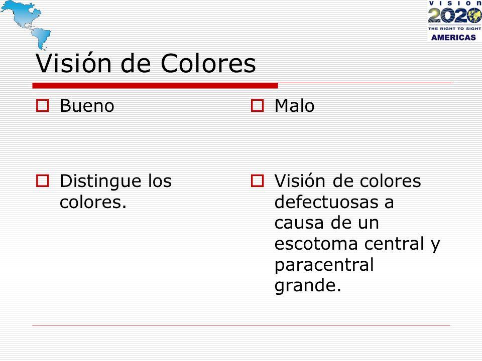 Visión de Colores Bueno Distingue los colores. Malo