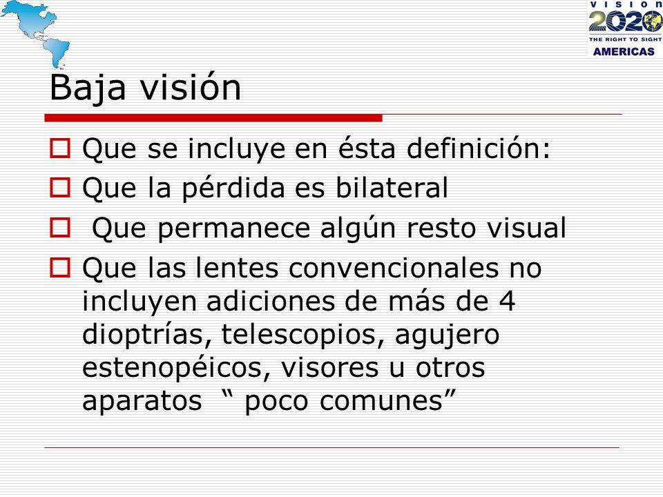 Baja visión Que se incluye en ésta definición:
