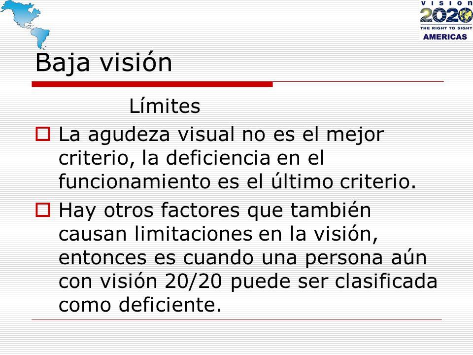 Baja visión Límites. La agudeza visual no es el mejor criterio, la deficiencia en el funcionamiento es el último criterio.