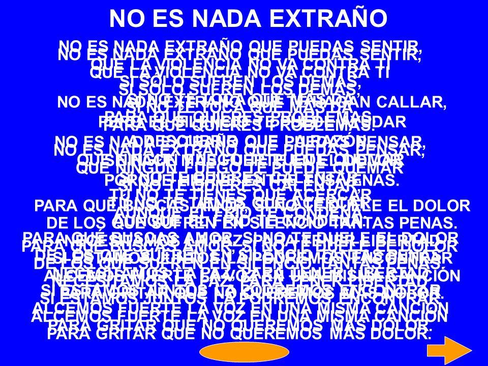 NO ES NADA EXTRAÑO NO ES NADA EXTRAÑO QUE PUEDAS SENTIR,