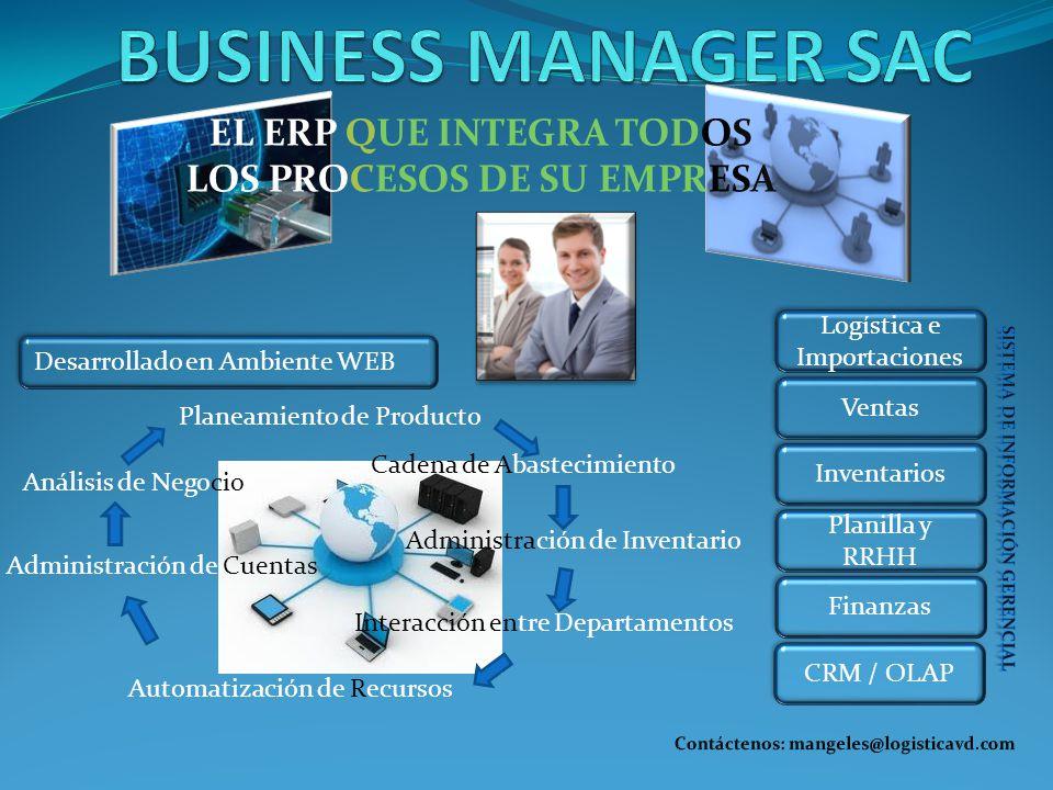 BUSINESS MANAGER SAC EL ERP QUE INTEGRA TODOS LOS PROCESOS DE SU EMPRESA. Logística e Importaciones.