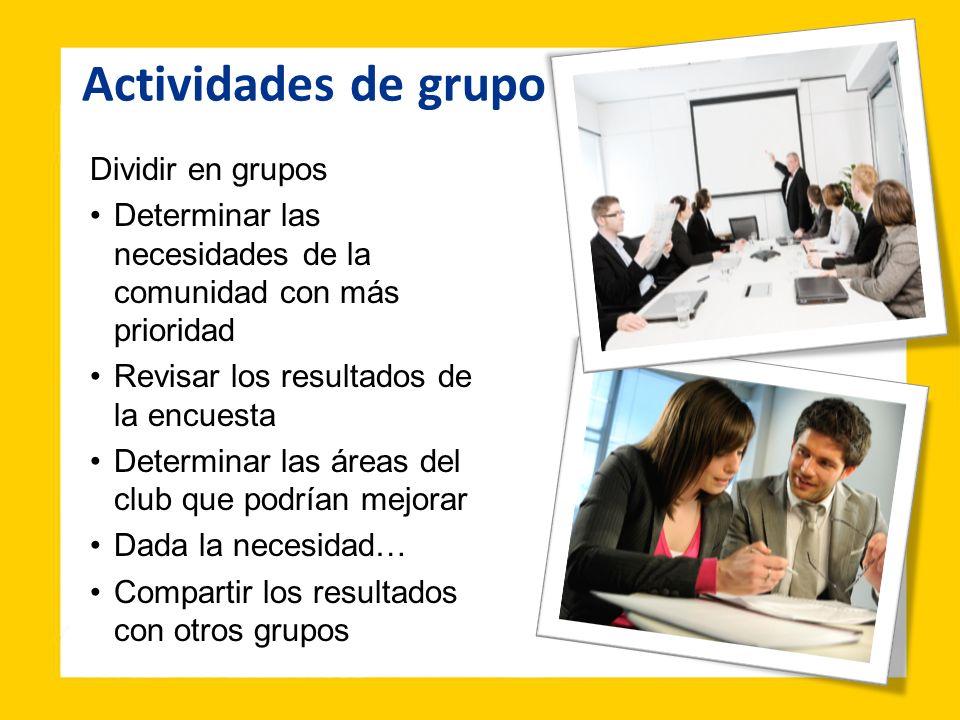 Actividades de grupo Dividir en grupos