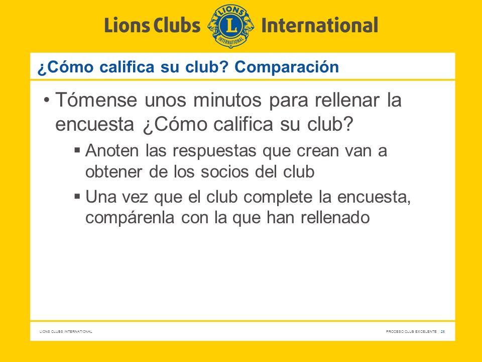 ¿Cómo califica su club Comparación