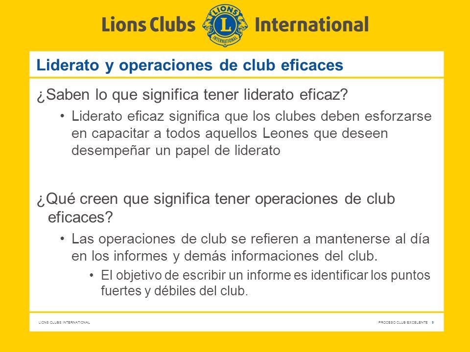 Liderato y operaciones de club eficaces