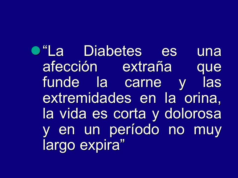 La Diabetes es una afección extraña que funde la carne y las extremidades en la orina, la vida es corta y dolorosa y en un período no muy largo expira