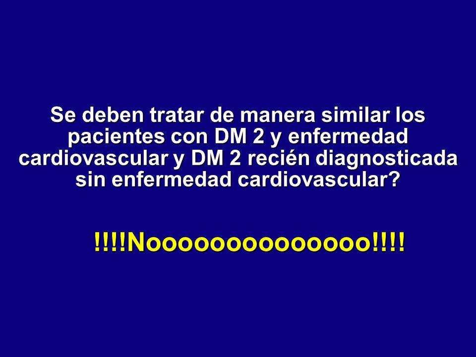 Se deben tratar de manera similar los pacientes con DM 2 y enfermedad cardiovascular y DM 2 recién diagnosticada sin enfermedad cardiovascular