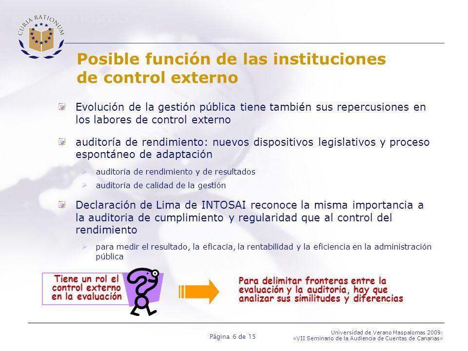 Posible función de las instituciones de control externo