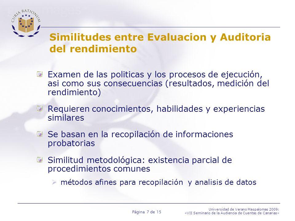 Similitudes entre Evaluacion y Auditoria del rendimiento