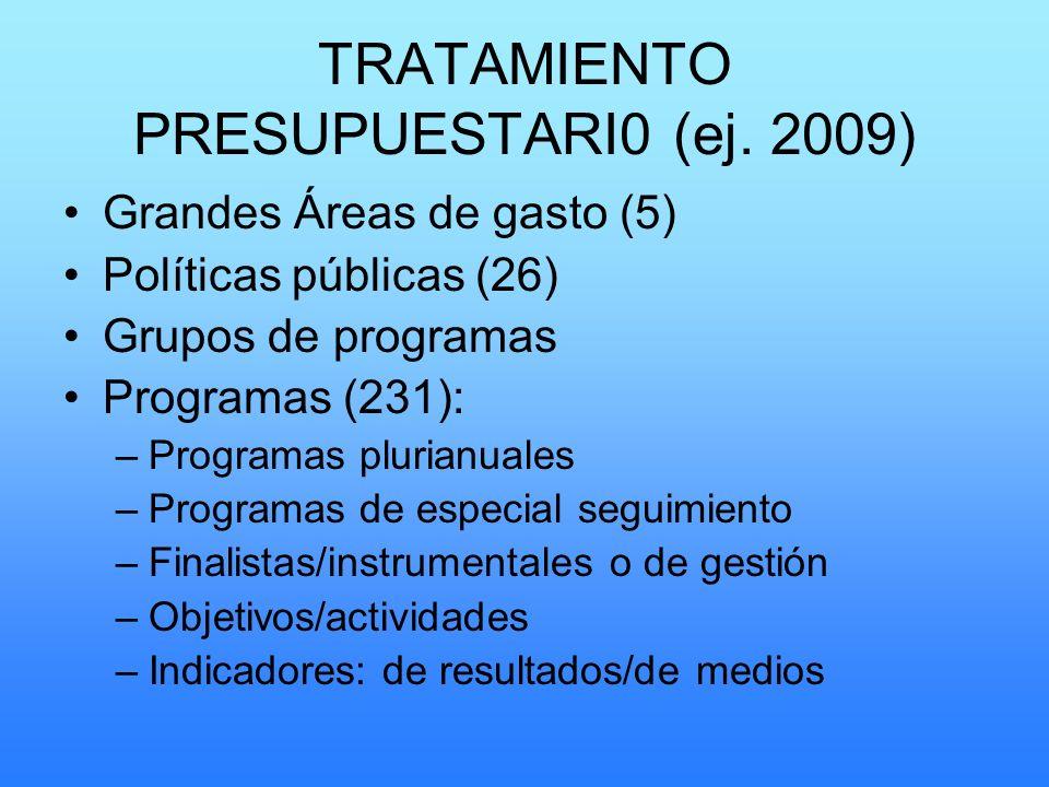 TRATAMIENTO PRESUPUESTARI0 (ej. 2009)