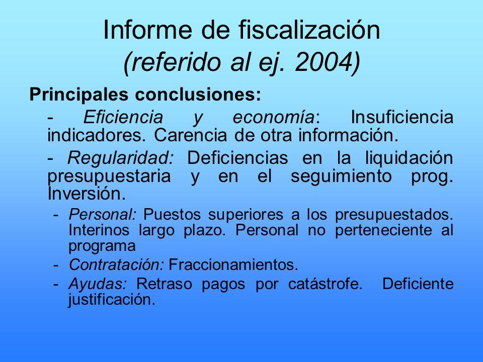 Informe de fiscalización (referido al ej. 2004)