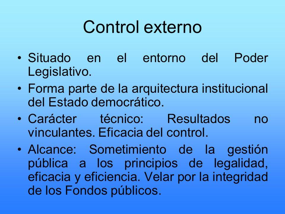 Control externo Situado en el entorno del Poder Legislativo.
