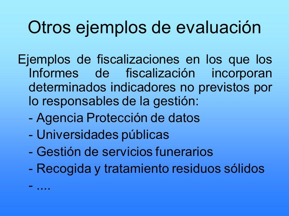 Otros ejemplos de evaluación