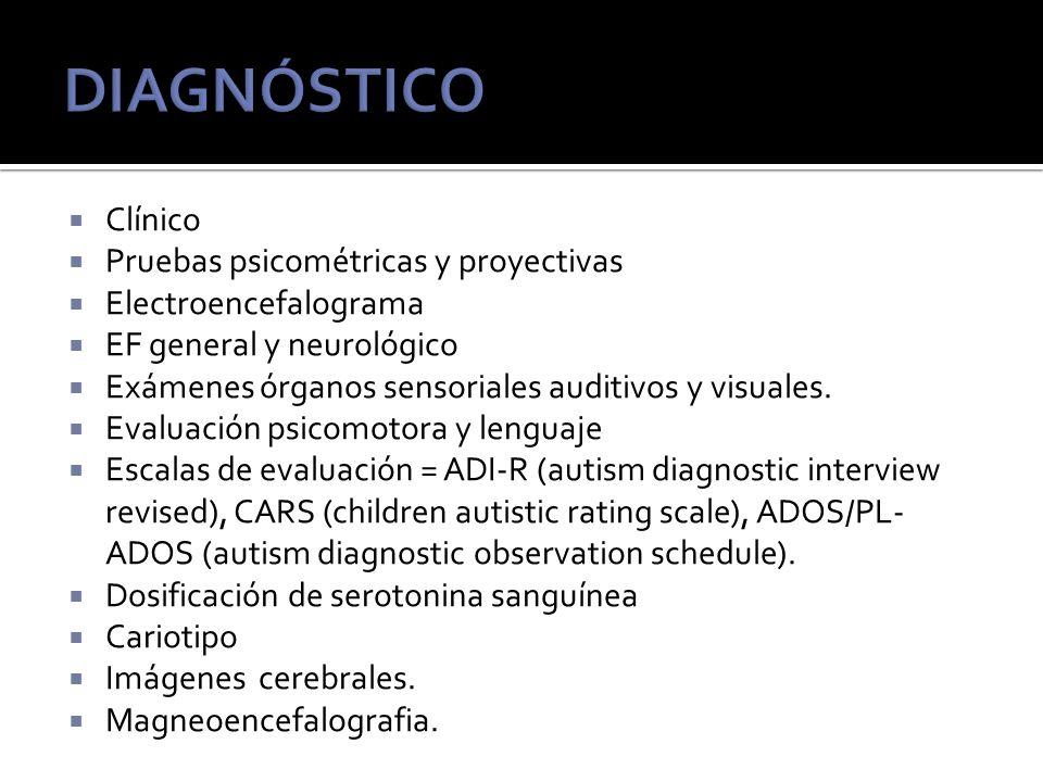 DIAGNÓSTICO Clínico Pruebas psicométricas y proyectivas