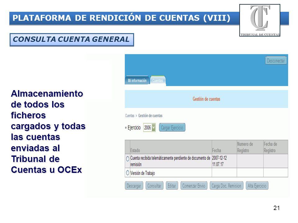 PLATAFORMA DE RENDICIÓN DE CUENTAS (VIII)