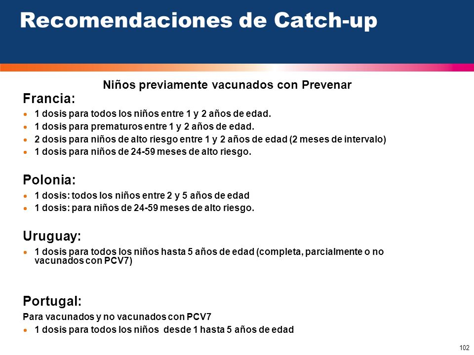 Recomendaciones de Catch-up
