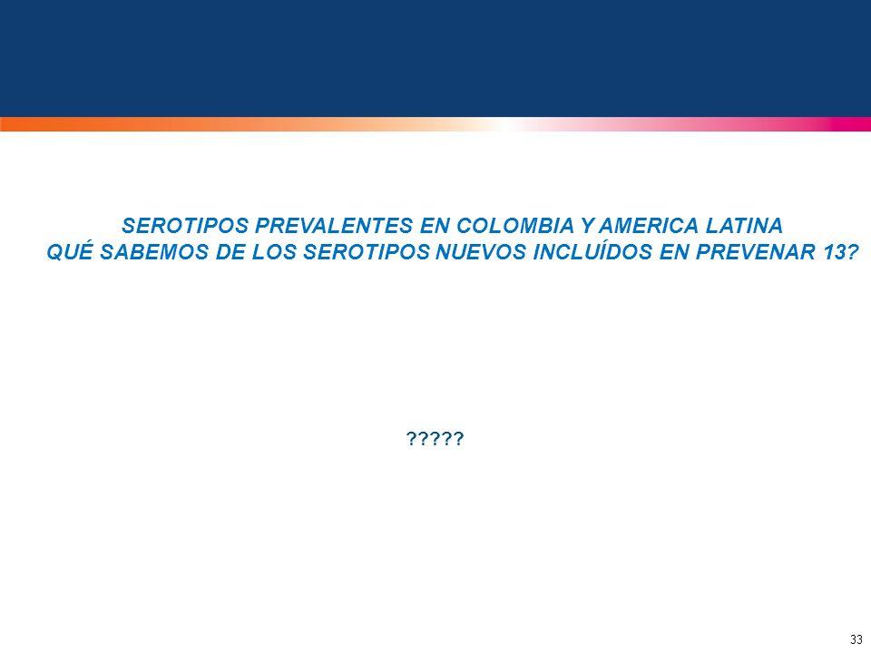 SEROTIPOS PREVALENTES EN COLOMBIA Y AMERICA LATINA