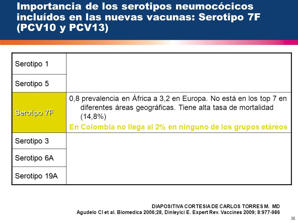 Importancia de los serotipos neumocócicos incluídos en las nuevas vacunas: Serotipo 7F (PCV10 y PCV13)