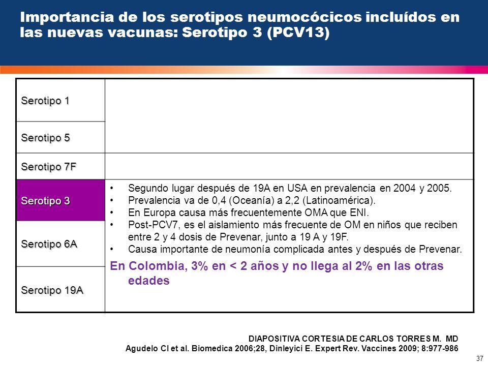 Importancia de los serotipos neumocócicos incluídos en las nuevas vacunas: Serotipo 3 (PCV13)