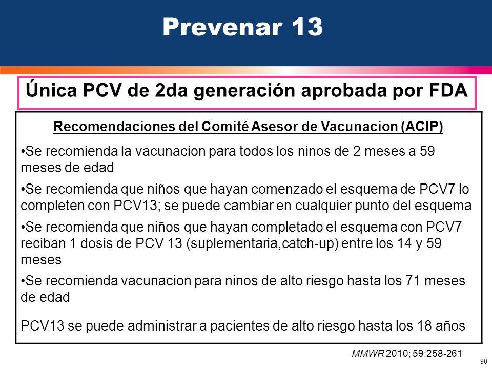 Prevenar 13 Única PCV de 2da generación aprobada por FDA