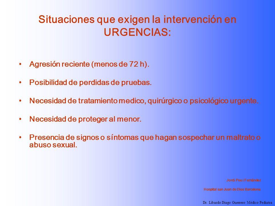 Situaciones que exigen la intervención en URGENCIAS:
