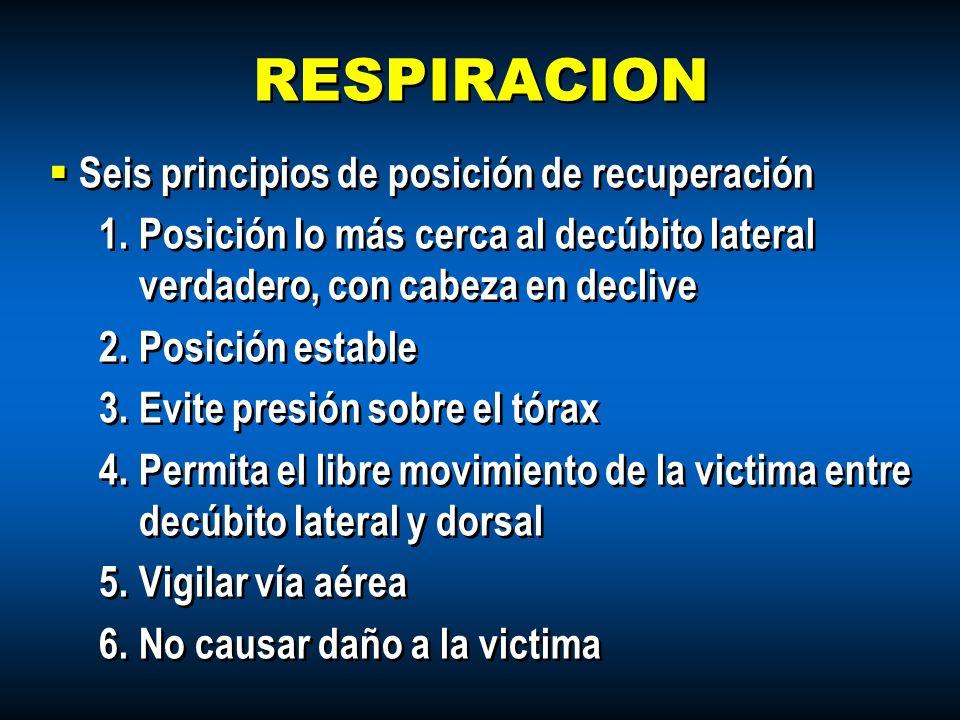 RESPIRACION Seis principios de posición de recuperación